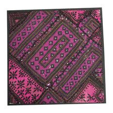 Mogul Interior - Indian Patchwork Banjara Sequin Work Magenta Pillow Cover - Pillowcases and Shams