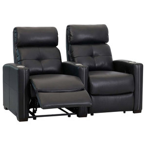 Modern Row of 2 Cinema Seats, Black Bonded Leather With Lower Lumbar Support