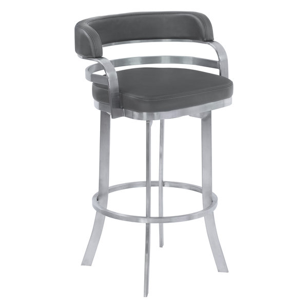 Prinz Stainless Steel Swivel Bar Stool, Gray, Counter Height