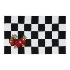 """Everywhere Apple Checkerboard Accent Rug, Black/White 1'8""""x2'9"""""""
