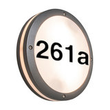 Wall Lamp Glow Round Dark Grey with House Number Stickers