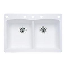 "Blanco 440221-5 22""x33"" Granite Double Dual-Mount Kitchen Sink, White"