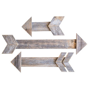 Unique 3-Piece Arrow Set at Staggered Lengths, Reclaimed Wood, Natural