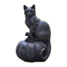 Cat on Pumpkin Cast Stone Garden Statue