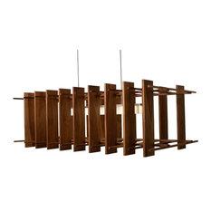 Arca - LED Linear Pendant, Wood: Dark Stained Walnut, Brushed Aluminum