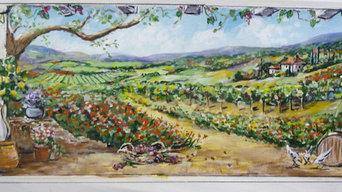 Tuscan Vineyard Landscape Mural