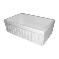 Whitehaus WHQ330-WHITE Fireclay 30'' Single Bowl Fluted Farmhouse Sink In White