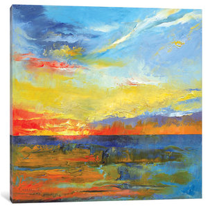 """Turquoise Blue Sunset"" by Michael Creese, Canvas Print, 18x18"""