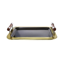 Classic Touch Black Rectangular Tray with Gold Border