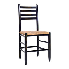 Asheville Wood Ladderback Dining Chair No. 33W Woodleaf Black by Dixie Seating Company