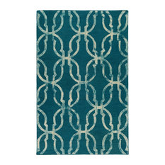 Organic AWOG-2274 Teal and Beige Contemporary Rug, 8'x10'