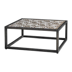 My Swanky Home   Square Industrial Rustic Wood Coffee Table, Lattice Open  Iron Elegant