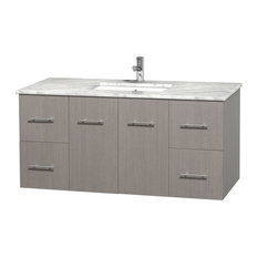 "Centra 48"" Gray Oak Single Vanity, Countertop, Undermount Square Sink, No Mirror"