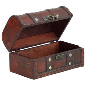 Traditional Treasure Storage Chest, Brown Solid Wood With Plastic Gold Coins