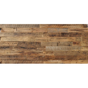 "Reclaimed Wood Wall Paneling, Brown, 3.5"" Wide, 20 sq. ft., Unsealed"