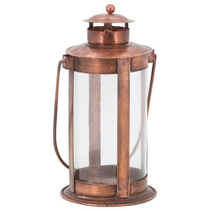 Garden Lantern with Glass Cylinder in Antique Polished Copper Finish