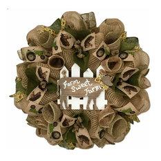 Farm Sweet Farm Rustic Handmade Deco Mesh Wreath