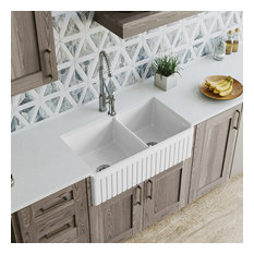 MR Direct 413 Fireclay Double Bowl Farmhouse Kitchen Sink, Sink Only