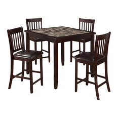 5-Piece Dining Set With 1 Table And 4 Leatherette Padded Chairs Brown
