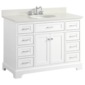 "Aria Bath Vanity, Base: White, 48"", Top: Quartz"