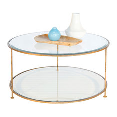 Worlds Away Worlds Away Gold Leaf Iron Round Coffee Table With Beveled Glass Top