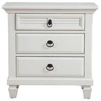 Pine Wood 3 Drawer Nightstand in White