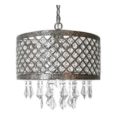 """14.25"""" Silver and Crystal Lattice Chandelier"""