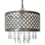 """River of Goods - 14.25"""" Silver and Crystal Lattice Chandelier - Bring a touch of glam into your home with this gorgeous chandelier. The metal frame is 14"""" in diameter and features an etched design along the top and bottom borders with hand-strung jewels in between. Topping off this lamp are the hanging jewels in the center giving this piece an extra bit of charm!"""