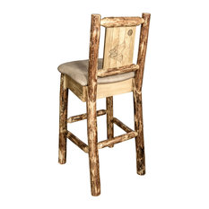 Montana Log Collection Wood Barstool In Stain And Lacquer MWGCBSWNRBUCKLZWOLF