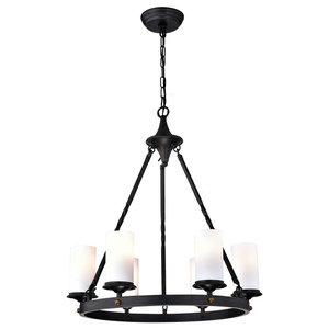 6-Light Antique Black White Glass Shade Chandelier Farmhouse Ceiling Fixture