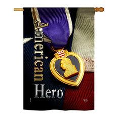 "Purpel Heart Hero Americana Military Vertical 28""x40"" Double Sided Flag, 28""x 40"
