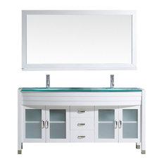 "Ava 63"" Double Bathroom Vanity Set, White, Glass Countertop, Round Basin"