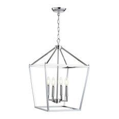 "Pagoda 4-Bulb Lantern Metal LED Pendant, Chrome, 16"""