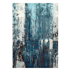 Winter Abstract Area Rugs, Blue, 8'x10'