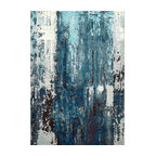 Winter Abstract Area Rug, Blue, 5