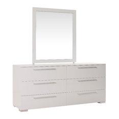 Kinwai - Bilbao High Gloss White Lacquer 6 Drawer Double Dresser - Dressers
