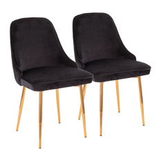 LumiSource - Marcel Dining Chair, Set of 2, Black Velvet Fabric, Gold Frame - Dining Chairs
