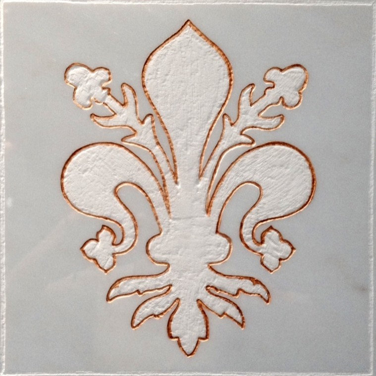Kitchen Backsplash Tile-Fleur De Lis- Carerra Marble & Gold Leaf