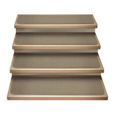 "Set of 12 Attachable Carpet Stair Treads Camel Tan, 8""x27"""