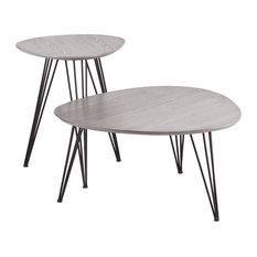 Holly & Martin Bannock 2-Piece Table Set, Matte Gray