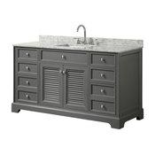 """Tamara 60"""" Dark Gray Single Vanity, Carrara Marble Top, Square Sink, No Mirror"""