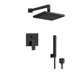 """Matte Black Shower System with 8"""" Rain Shower Head and Hand Shower"""