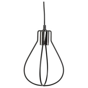 Black Wire Bulb Cage Pendant Lights, Set of 3