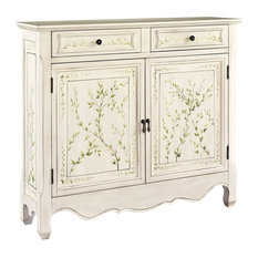 Powell Furniture   White Hand Painted 2 Door Console   Accent Chests And  Cabinets