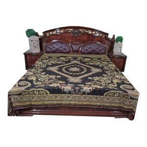 mogulinterior - Mogul Boho Bedcover Black Ivory Floral Reversible Blanket India Bedding - Blankets