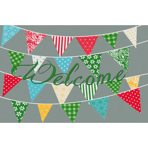 """Welcome"" Bunting Gallery Door Mat, Small"