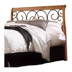 Dunhill Sleigh Headboard With Autumn Brown Swirling Scrolls, Honey Oak, King