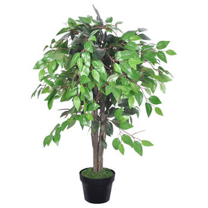 VidaXL Artificial Plant Ficus Tree With Pot, 90 cm