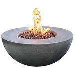 Elementi - Elementi Roca Glass Fiber Reinforced Concrete Fire Table - Elementi OFG107 Roca Glass Fiber Reinforced Concrete Fire Table.