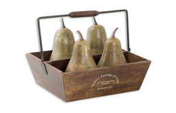 Decorative Pears In Basket Set/5